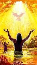 耶稣受洗.版权所有.