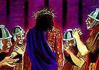 耶稣戴著荆棘编成的冠冕.版权所有.