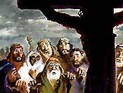人们看耶稣悬在十架.版权所有.