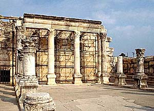 White stone synagogue at Capernaum. Photo copyrighted, BiblePlaces