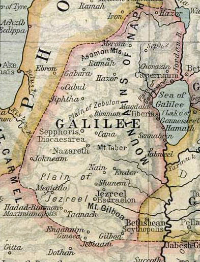 Map of ancient Galilee as it was in 50 AD