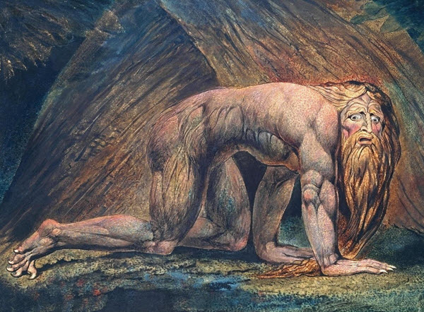 Nebuchadnezzar—William Blake's planographic color printing with water color and pen and ink additions to the impression
