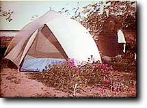 George at his tent
