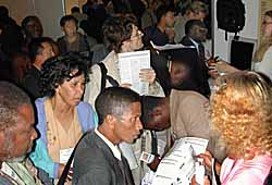 Crowd at our display at Amsterdam 2000 (Copyright, Films for Christ).