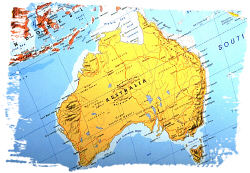 Australia on map. Photo copyrighted.