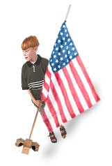 Boy with US Flag. Photo copyrighted, Films for Christ.