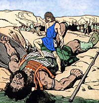 Artist's conception of David and Goliath. Supplied by Films for Christ.