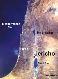 Satellite photo of Israel - showing Jericho.