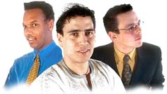 Three men of different ethnic groups. Illustration copyrighted. Courtesy of Films for Christ.