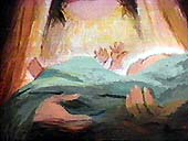 Jesus Christ as a baby - click to learn more. (illustration copyrighted - God's Story).