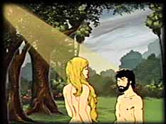 Adam and Eve in Garden of Eden, from The Genesis Solution. Copyright, Films for Christ.