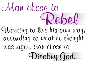 Man chose to rebel against God.