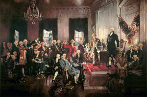 Founding fathers of the United States of America. Painting by Howard Chandler Christy (1873-1952).