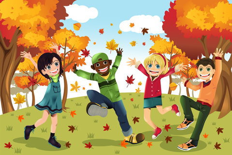 Kids and autumn leaves falling. © Artisticco LLC