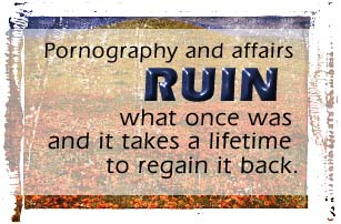 Pornography and affairs ruin what once was and takes a lifetime to regain it back.