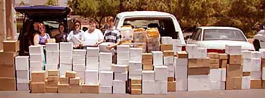 Photo of shipment of video libraries to prison chaplains.