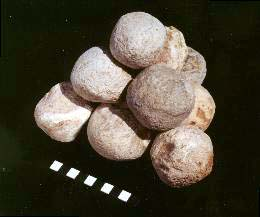 Bronze Age slingstones. Photo copyrighted, ABR.