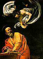 Artist's depiction of angel with Matthew.