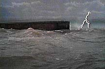 Noah's Ark on the floodwaters. Photographer: Paul S. Taylor. Copyright, Films for Christ.