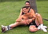 Two homosexual men relaxing in a park. © Jeremiah Films.