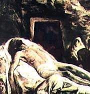 Artist's conception of Jesus' body about to be prepared for burial at the tomb.