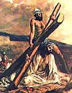 Artist's conception - Jesus falls with cross on road to Golgotha.