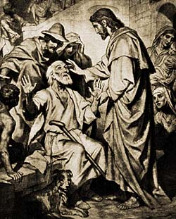 'Jesus healing blind man.' from the web at 'http://www.christiananswers.net/q-eden/jesushealingblind.jpg'