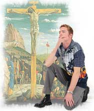 Man kneeling at the cross. Illustration copyrighted.