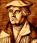 Etching of Luther in 1540 by Heinrich Aldegrever. Courtesy of Films for Christ.