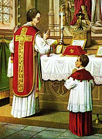 Roman Catholic priest with altar boy.