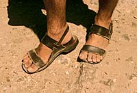 Sandalled feet. Photo copyrighted. Courtesy of Films for Christ.