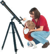 Mom and daughter looking through telescope