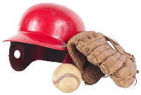 Baseball helmet, baseball glove and ball. Photo copyrighted.