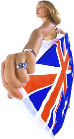 British woman holding flag.