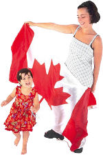 Canadian mother with child and flag.