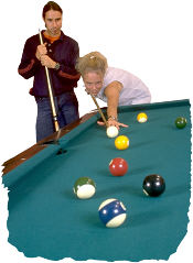 Couple playing pool. Photo copyrighted.