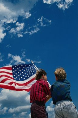 American flag and children. Photo copyrighted.