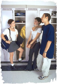 High school students at locker. Photo copyrighted.
