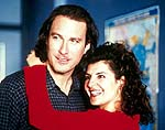 "John Corbett and Nia Vardalos in ""My Big Fat Greek Wedding"""