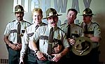 "Jay Chandrasekhar, Paul Soter, Steve Lemme, Erik Stolhanske and Kevin Heffernan in ""Super Troopers"""