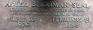 Grave marker of Adler Berriman Seal—July 16, 1939-February 19, 1986